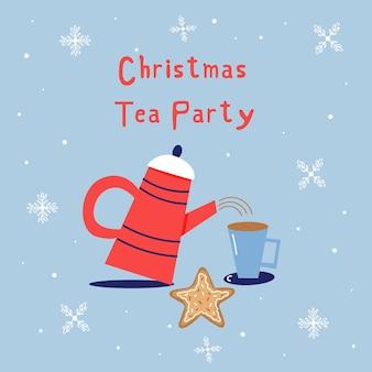 쿠키와 함께 크리스마스 티 파티입니다. 크리스마스 휴일 귀여운 요소 주전자, 머그, 진저브레드. 새해 인사말 카드