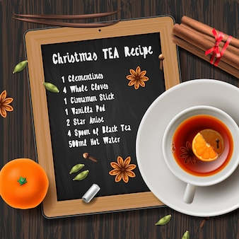 Christmas tea recipe with list of ingredients and bottle of wine