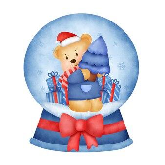 인사말 카드에 대 한 수채화 스타일에서 크리스마스 테 디 베어 스노우 글로브.