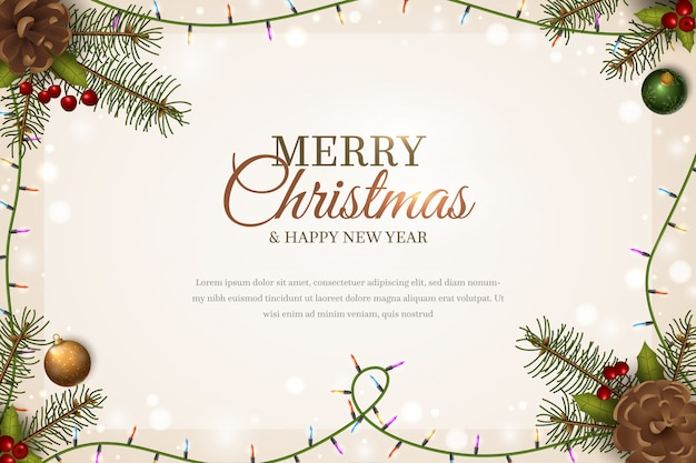 Christmas template background whit spruce branches