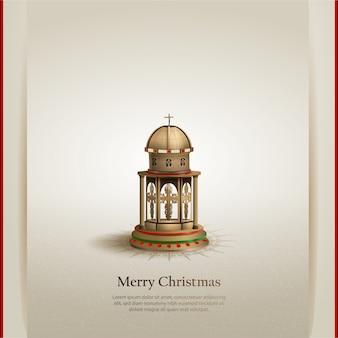 金教会のランタンとクリスマステンプレートカードデザイン