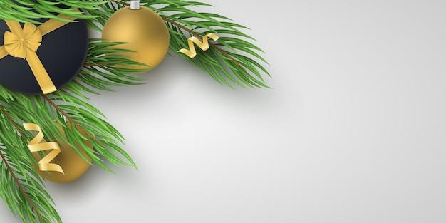 クリスマステンプレート。モミの木、黒いギフトボックスとリボンが付いたお祝いの金色のボール。グリーティングカードの背景。
