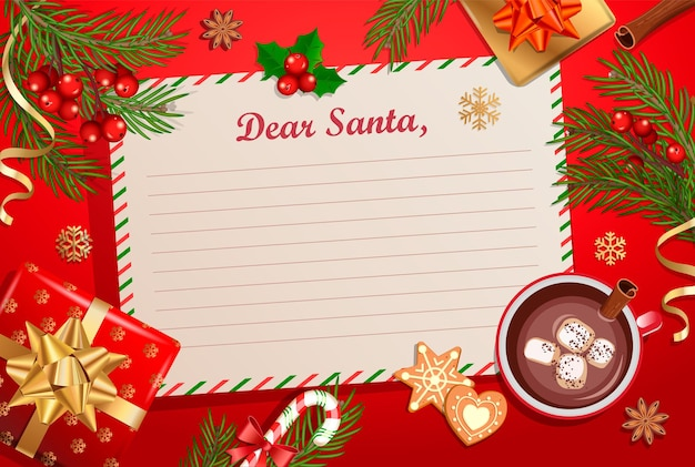 Christmas template for letter to santa claus with traditional decorations-gift box with bow,candy cane,cocoa with marshmallows,spruce branch and gingerbread.wish list for kids for the holidays.vector.