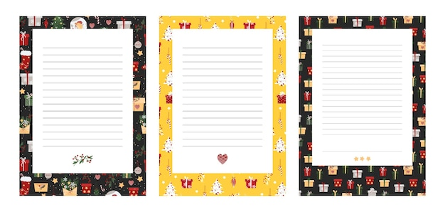 Christmas template for letters and to-do list. new year gift list. blank sheet of planner. confused sheet for christmas shopping.