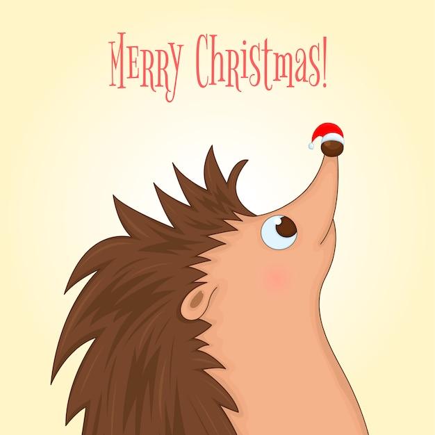 귀여운 동물과 함께 크리스마스 템플릿입니다. 만화 스타일.