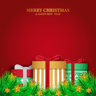 Christmas template with garland and gift box