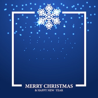 Christmas template with white snowflake