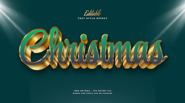 Christmas text in luxury green and gold style with 3d embossed effect. editable text style effect