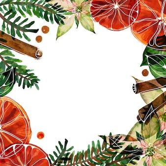수채색 포인세티아와 에일, 향신료가 있는 크리스마스 텍스트 공간 사각형 프레임
