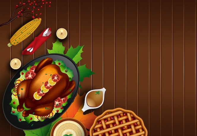 Christmas or thanksgiving turkey on rustic wooden table background with copyspace