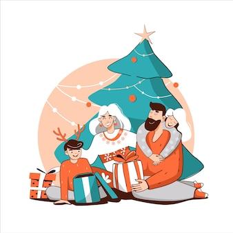クリスマス家族は贈り物を交換しますクリスマス気分の子供たちのパステルカラー