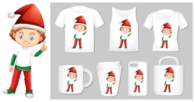 Christmas theme boy in santa hat on many products