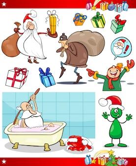 Christmas theme cartoon set