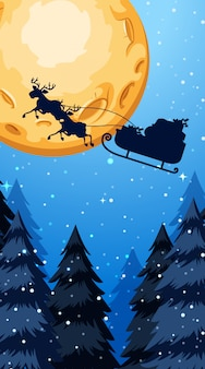 Christmas theme illustration with santa claus flying at night
