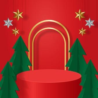 クリスマステーマリアルな表彰台展示商品