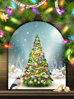Новогодняя тема - окно с видом на зимнюю деревню.