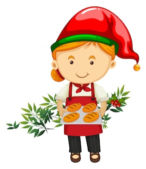 Christmas theme with baker and bread