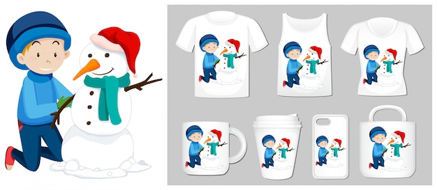 Christmas theme with boy and snowman on product templates