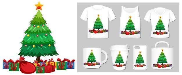 Tema natalizio con albero di natale sui modelli di prodotto
