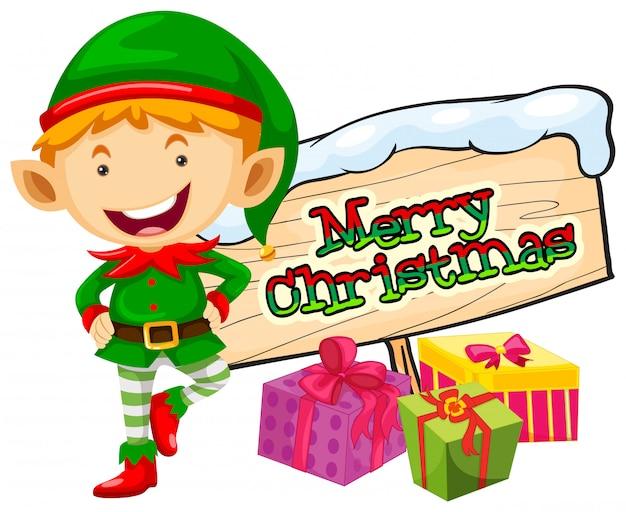 エルフとクリスマスサインのクリスマステーマ
