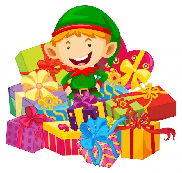 エルフと多くのプレゼントとクリスマスのテーマ