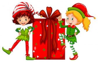 Новогодняя тема с эльфом и подарочной коробкой