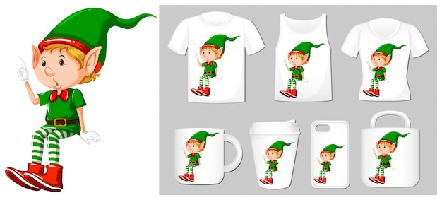 Christmas theme with elf on many products