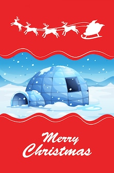 Christmas theme with igloo and reindeers christmas card