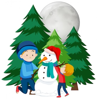 Christmas theme with kids manking snowman