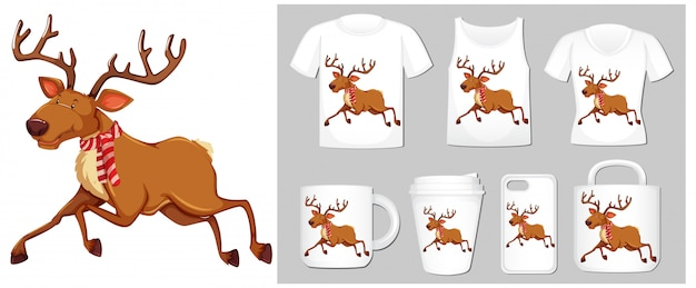 Christmas theme with reindeer on product templates
