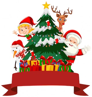 Рождественская тема с дедом морозом и эльфом