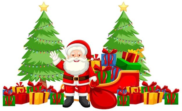 산타와 많은 선물이 있는 크리스마스 테마