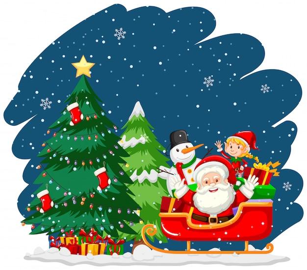 サンタと雪だるまのクリスマスのテーマ