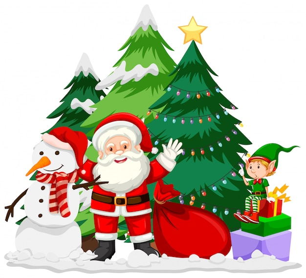 サンタと雪だるまのクリスマステーマ