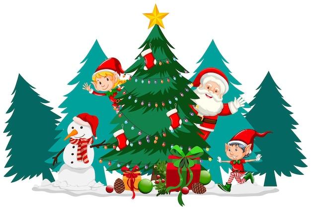Рождественская тема с дедом морозом и деревом