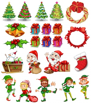 Christmas theme with santa and ornaments