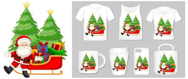 Tema natalizio con babbo natale sui modelli di prodotto
