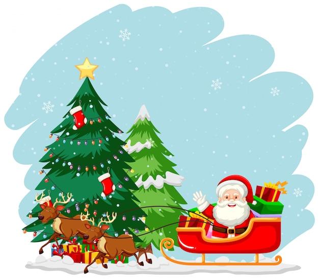 Christmas theme with santa on sleigh
