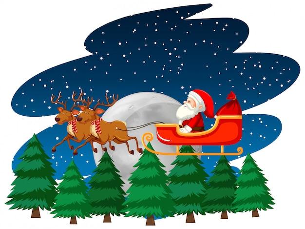 Tema natalizio con babbo natale sulla slitta