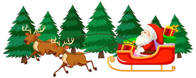 Christmas theme with santa on sleigh