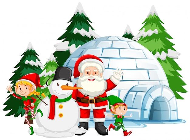Christmas theme with santa and snowman