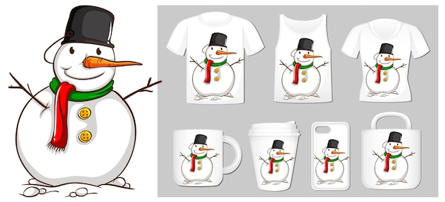 製品テンプレートに雪だるまとクリスマスのテーマ