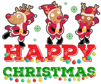 Christmas theme with three reindeers dancing
