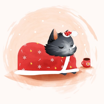 クリスマスをテーマにした猫のイラスト