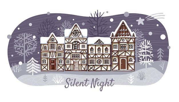 Рождественские тематические городские иллюстрации