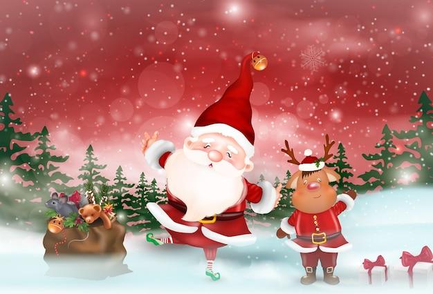 クリスマスをテーマにしたイラスト。メリークリスマス。明けましておめでとうございます。