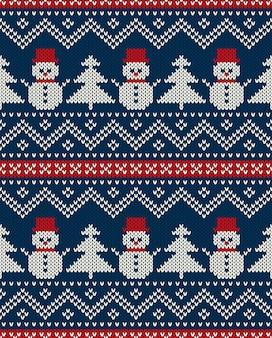 Рождественский тематический вязаный узор