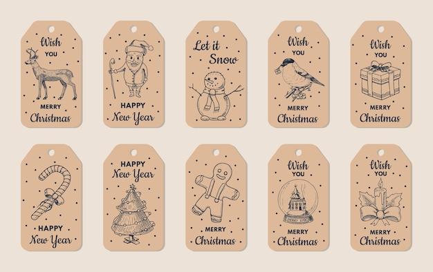 Christmas themed label set