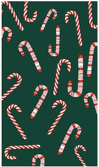 Christmas themed pattern of candy various candy canes.