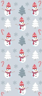 Christmas themed pattern with snowman, pine trees, snowflakes and candy canes.